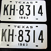 1963 Texas License Plate Pair Premium Quality