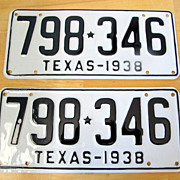 1938 Texas License Plate Pair Museum Quality Restoration
