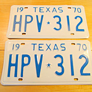 1970 Texas License Plate Pair Very Nice
