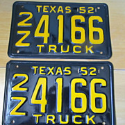 SALE 1952 Texas Truck License Plate Pair Restored