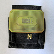 Norell Perfume Purse Cosmetic Mirror Engraved Brass With Suede Case