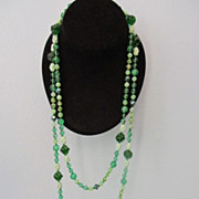 REDUCED Mid Century Super Long Green Glass Bead Necklace