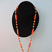 REDUCED Orange Marble Aztec Pendant & Bead Necklace