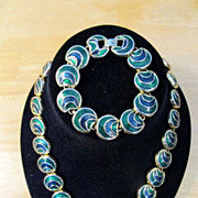 Green & Goldtone Disc Collar & Bracelet Suite