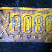 MX 8080 1945 Texas Truck License Plate