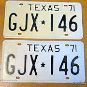 1971 Authentic Texas License Plate Pair NOS Yes You Can