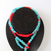 REDUCED Turquoise & Red Coral With Red Cinnabar Lariat  Necklace