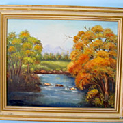 Missouri Ozarks Fall Stream Oil On Canvas By Marie Baker