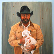 Tender Moment Cowboy & Lamb Western Oil On Canvas