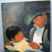 """Read Me A Story""  Texas Cowboy Oil On Canvas Mighty Fine"