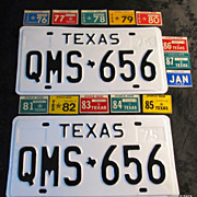 1975-87 Texas License Plate Pair Restored Perfection Free Sticker