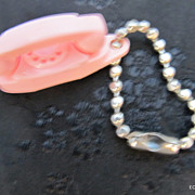 Miniature Pink Princess Telephone Key Chain 1950's