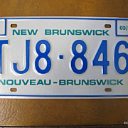 1987 New Brunswick Canada License Plate Mint Condition