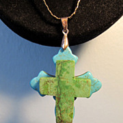 Turquoise Double Crosses Pendant On Sterling Silver Serpentine Chain