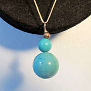 Turquoise Orbs On Sterling Silver Chain Necklace