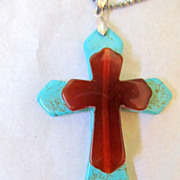 "SALE 3""Turquoise & Carnelian Celtic Cross Necklace"
