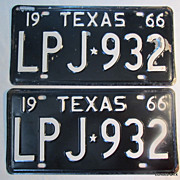 1966 Texas License Plate Pair NOS Straight