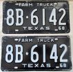 1968 Texas Farm Truck License Plate Pair