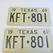 1969 Texas License Plate Pair Huntsville Prison Made NOS