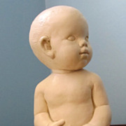 Unique Chalk Life Size Infant Statue 1960's