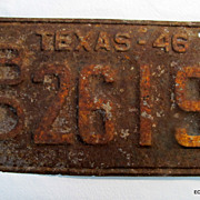 1946 Texas License Plate Rough As A Cob