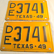 1949 Texas License Plate Pair DE 3741 Nice Condition