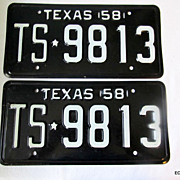 1958 TS*9813 Texas License Plate Pair New Old Stock Huntsville Prison Made