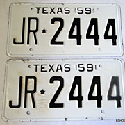 1959  JR*2444 NOS Texas License Plate Pair Huntsville Prison Made