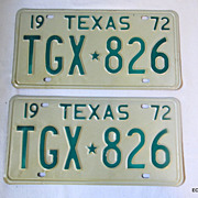 1972 Texas License Plate Pair NOS Huntsville Prison Made Sharp