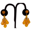Golden Yellow Faceted  Crystal  Glass  Beaded Drop Earrings  From Germany