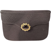 REDUCED Vintage Black Crepe Evening Clutch Purse With Stunning Jewel Clasp by Milch