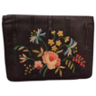 Vintage French Black Silk Moire Clutch Purse  With Floral Tambour On Front