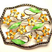 REDUCED Sparkly Enamel on Sterling Silver Deco Period Pin/Brooch with Marcasites