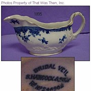 REDUCED Antique Flow Blue Bridal Veil Sauce/Gravy Boat Hancock