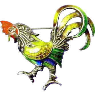 Signed Alice Caviness Enamel Sterling Rooster Pin