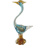 Very Tall Vintage Murano Fantasy Bird Lots of Gold