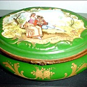 Raised Gold and Romantic Scene Hinged Porcelain Box