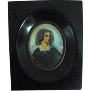 REDUCED Handpainted Framed Portrait Miniature