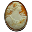 Beautifully Carved Woman (Flora) Shell Cameo in Silver Setting
