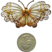 Very Large Filigree and Enamel Gilded Butterfly Pin Italian 800 Silver