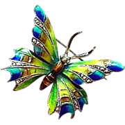 Vintage Alice Caviness Signed  Enamel on Sterling with Marcasites Butterfly Pin made in German