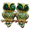 Coro Sterling Owl Duette Pin in Green