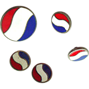 Rare Pepsi Collectible Item - 5 Enamel on Sterling Buttons