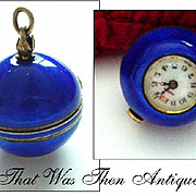 Enamel on Sterling Swiss Ball Pendant Watch