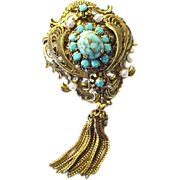 Stunning Vintage Signed Austria Pin/Brooch with Faux Turquoise, and Pearls