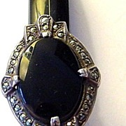 Large but Tiny Ring Size 3 Sterling Silver, Onyx, and Marcasite Ring