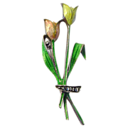 .835 Silver German Enamel on Silver Tulip Pin