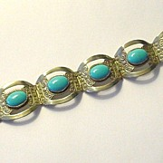 Made in Mexico Alpaca Silver and Faux Turquoise Bracelet