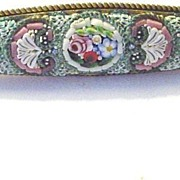 Antique Micromosaic Navette pin in Pastel Colors Made in Italy