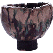 Small but Powerful Raku Pottery Vessel/Vase